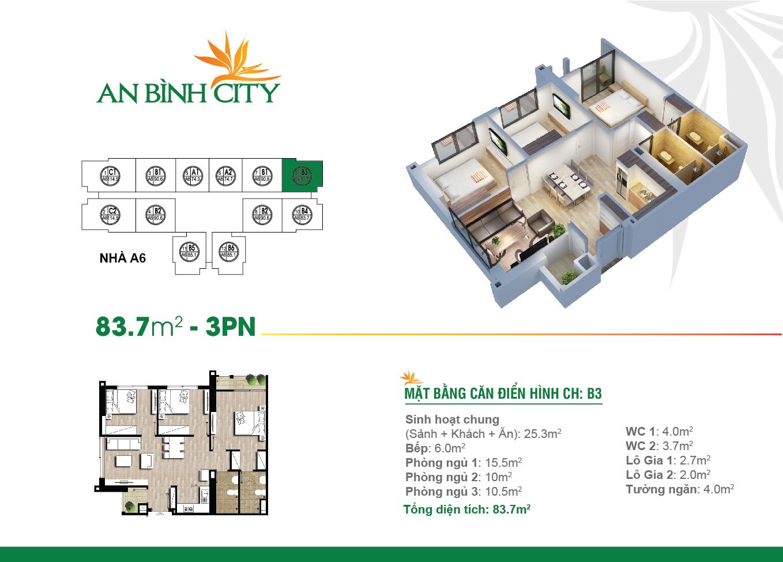 Căn hộ 3 phòng ngủ tại chung cư An Bình City